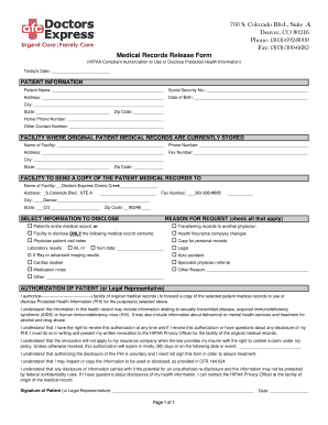 Generic Medical Records Release Form Templates - Fillable ...