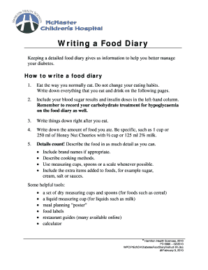 Writing a food diary and food diary sheets - Hamilton Health Sciences