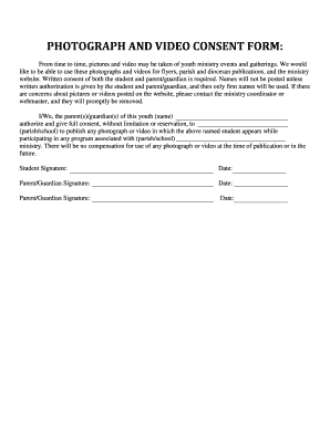 Fillable Online Photograph and video consent form - Archdiocese of ...