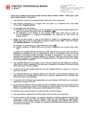 Terms and Conditions Governing United Overseas Bank Limited ( UOB ) UOB Lady s Card Add A Lady Program ( Program ) 1
