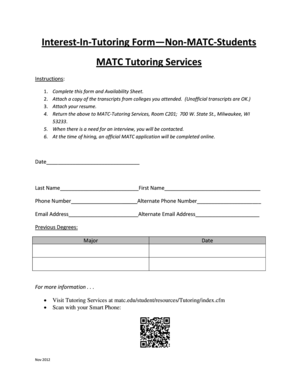 matc transcripts Fillable Online matc Interest-In-Tutoring Form Non-MATC-Students ...