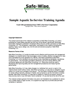 Sample Aquatic In-Service Training Agenda - Safe-Wise Consulting
