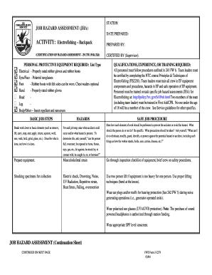 Fillable online nctc fws electrofishing backpack job hazard rate this form maxwellsz