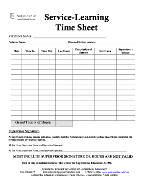 Service-Learning Time Sheet - Normandale Community College - normandale