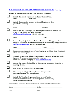 Printable things to do before marriage for bride Form to Submit ...