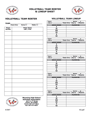 volleyball lineup sheet with roster Fillable Online whsaa VOLLEYBALL TEAM ROSTER amp LINEUP SHEET ...