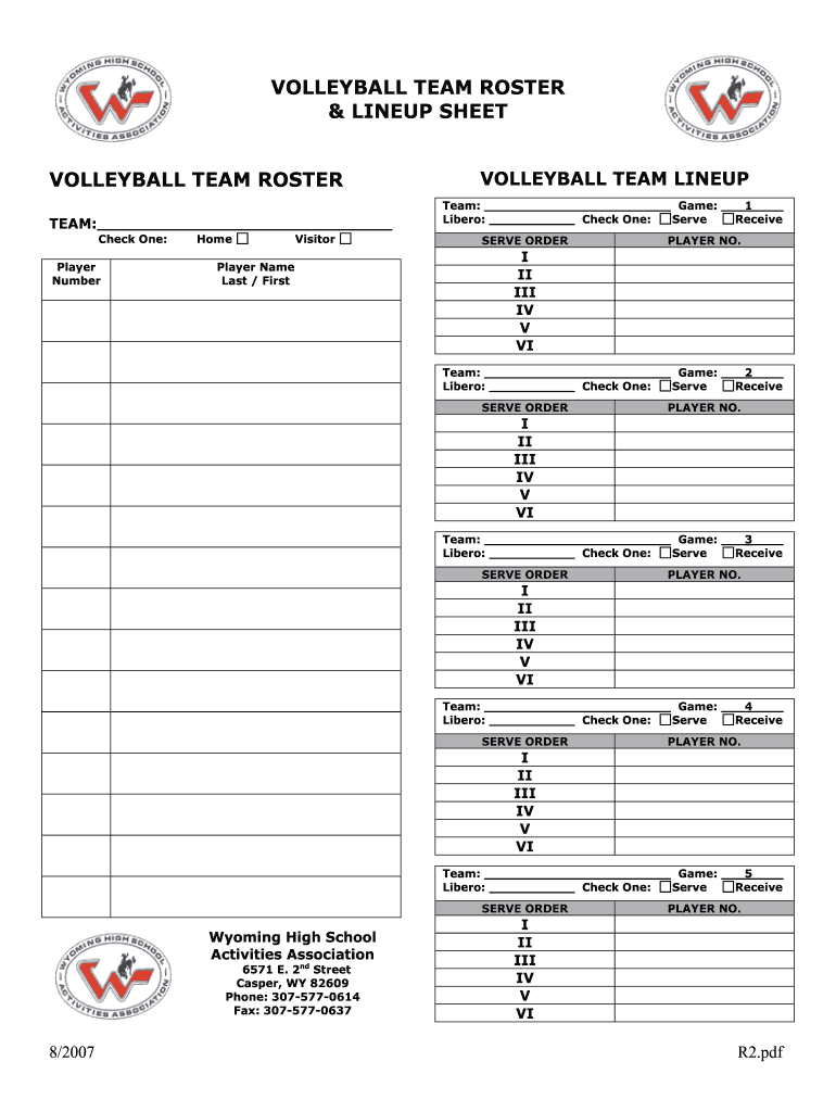 This is a photo of Unusual Volleyball Lineup Sheet Printable
