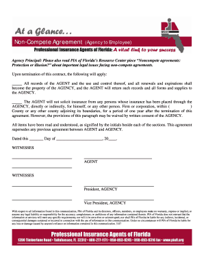 Non-Compete Agreement Form - PIA of Florida