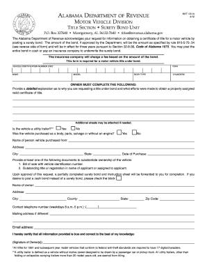 2012-2018 Form AL MVT 10-1A Fill Online, Printable, Fillable, Blank - PDFfiller