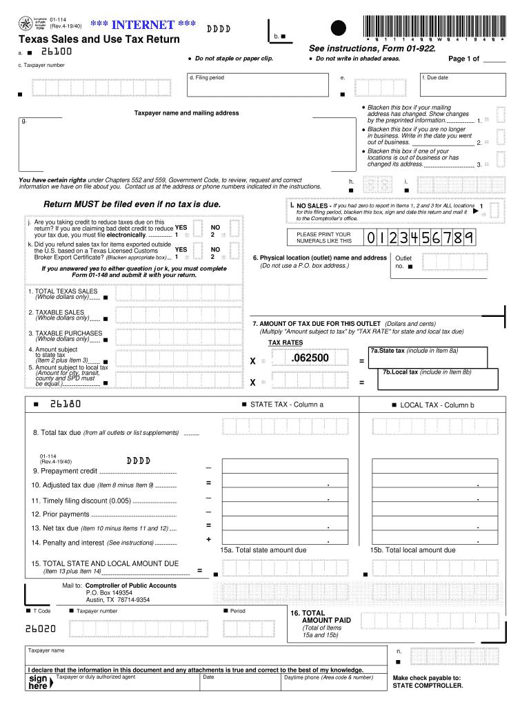 2019 Form TX Comptroller 01-114 Fill Online, Printable, Fillable, Blank -  pdfFiller