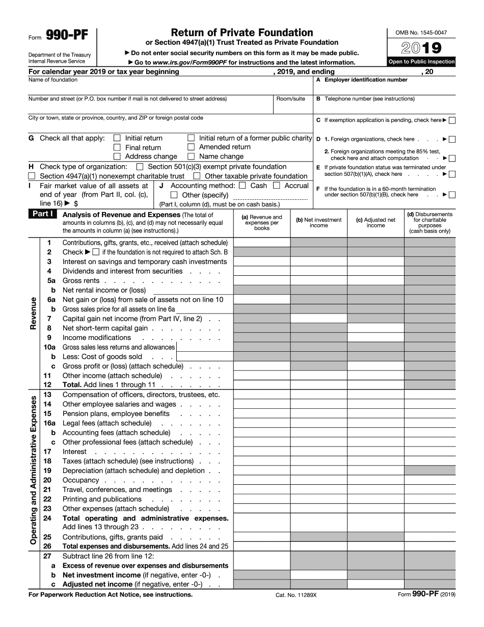 form 990-pf instructions 2019
