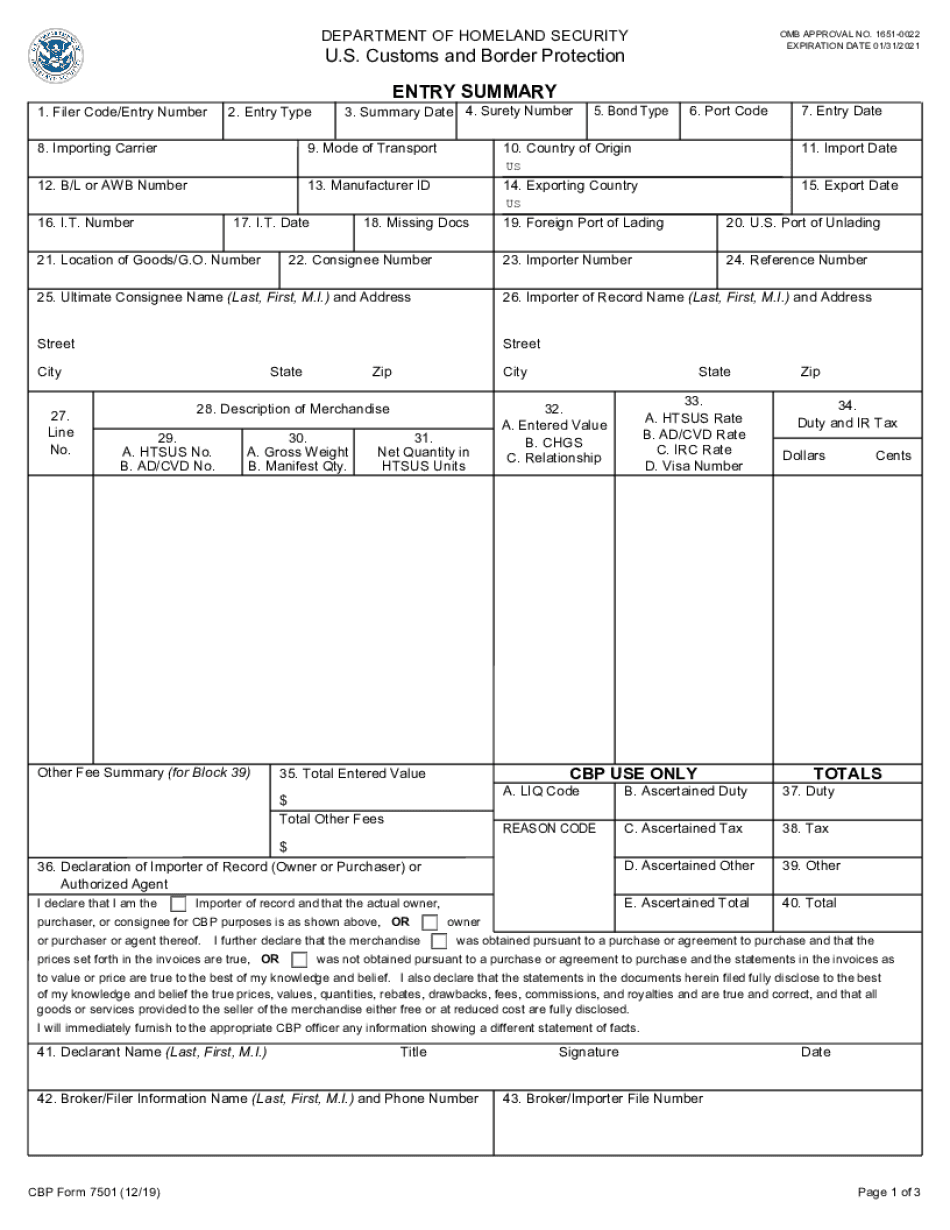 customs and border protection form 3311