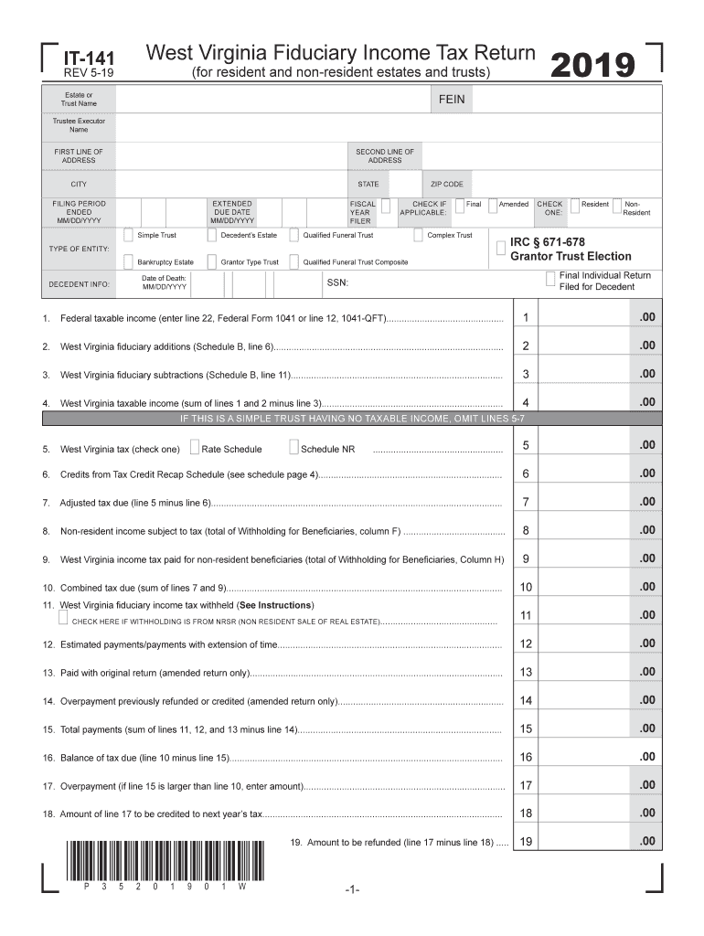 WV DoR IT-141 2019 - Fill out Tax Template Online | US Legal Forms