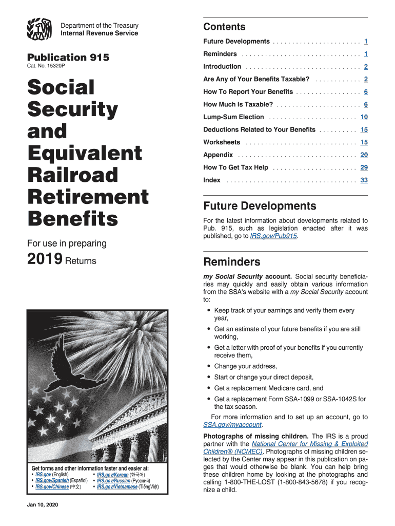 2019 Form Irs Publication 915 Fill
