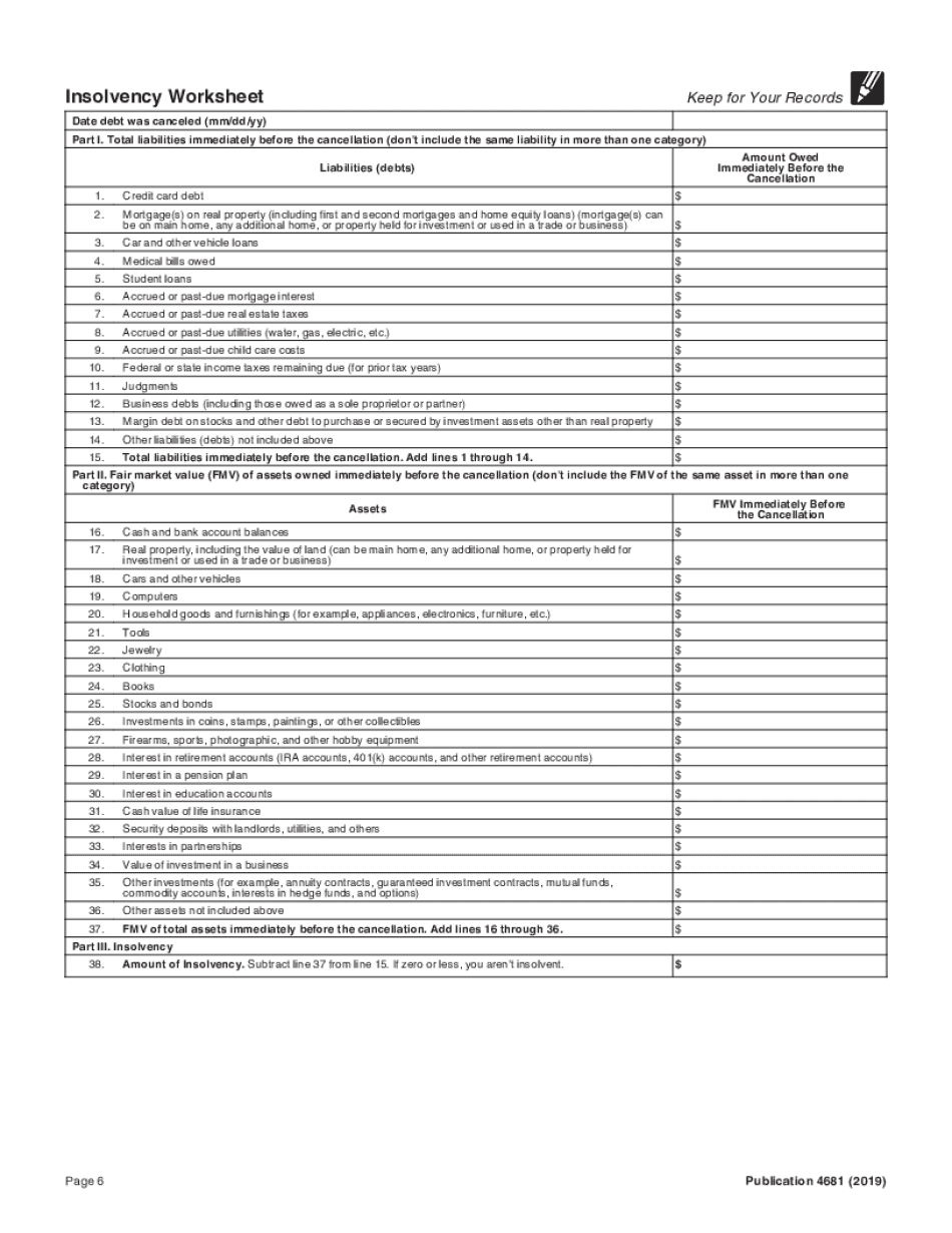 irs insolvency worksheet 2018   Fill Online, Printable ...
