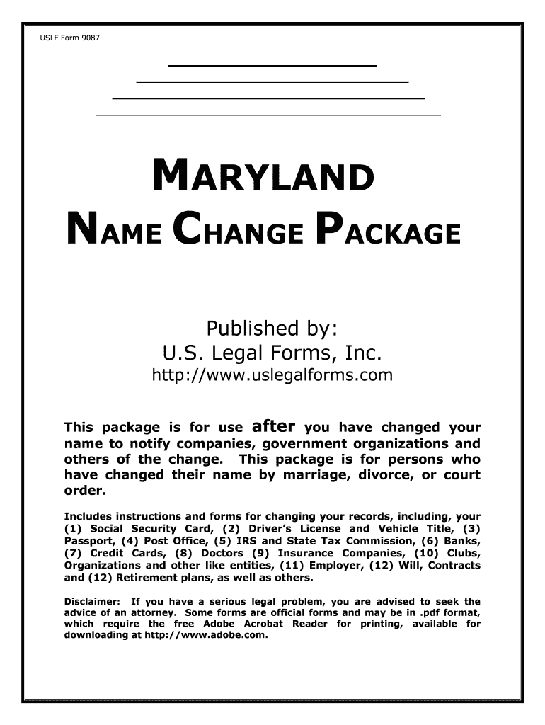 fill edit and print name change notification package for