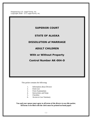 No-Fault Uncontested Agreed Divorce Package for Dissolution of Marriage with Adult Children and with or without Property and Debts - Alaska
