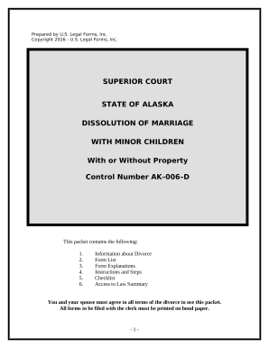 No-Fault Agreed Uncontested Divorce Package for Dissolution of Marriage for people with Minor Children - Alaska