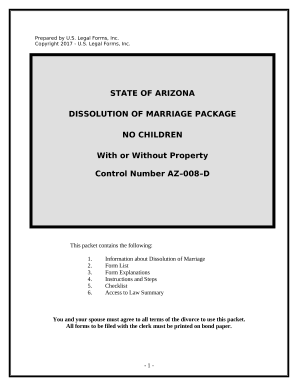 No-Fault Agreed Uncontested Divorce Package for Dissolution of Marriage for Persons with No Children with or without Property and Debts - Arizona