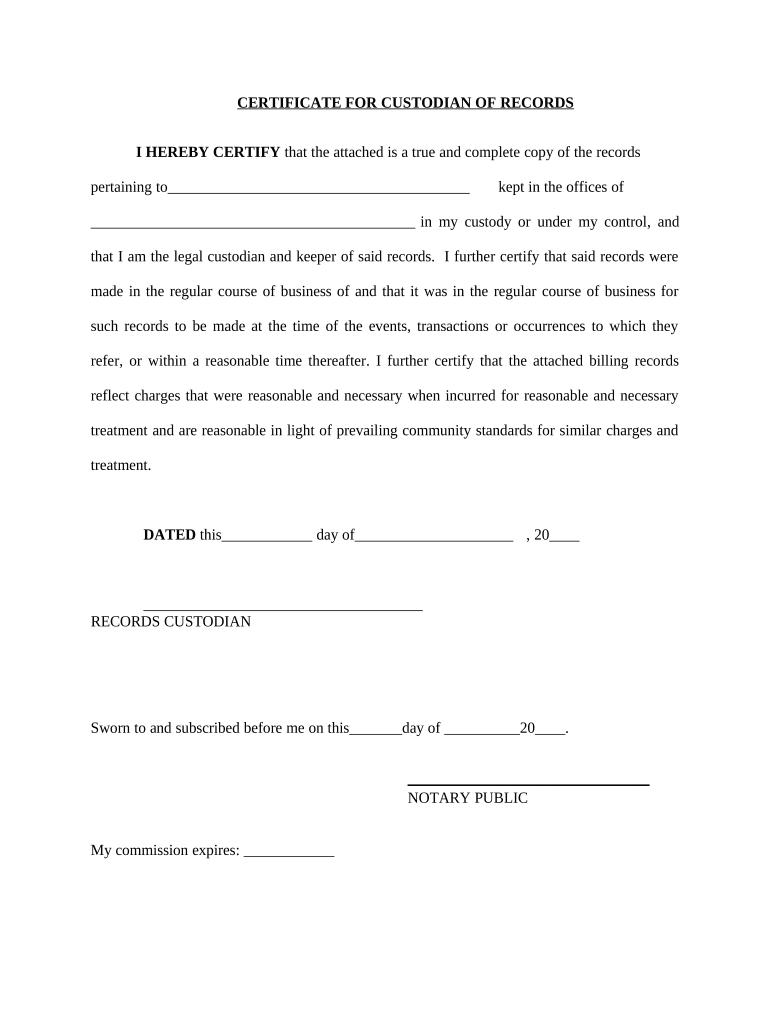 certificate custodian template adam eve paragraph concern going explanatory rebuke pdffiller report might audit form case doc