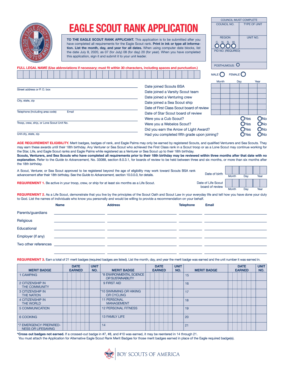 Eagle Scout Rank Application 2021 Form
