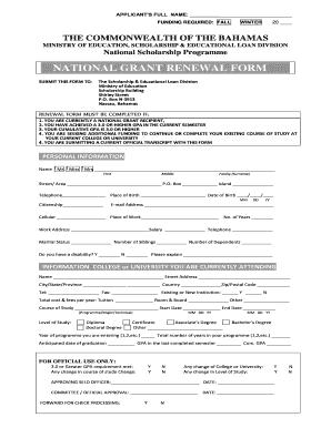 Renewal Grant Scholarship Bahamas Form