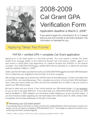 Fillable Cal Grant Gpa Verification Form September 2 2013 - Fill ...