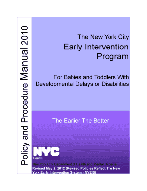 nyc early intervention policy and procedure manual form