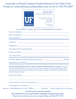 Business card template forms fillable printable samples for pdf uf student business cards form flashek Images