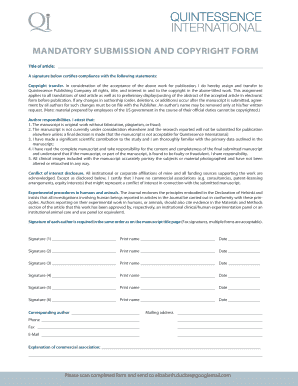 Mandatory Submission Form and Copyright Assignment Agreement