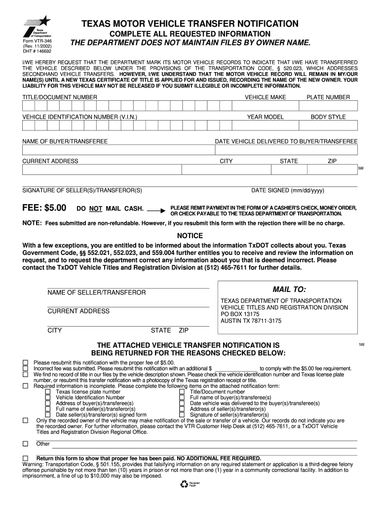 Texas Vehicle Transfer Notification >> Vtr 346 Online Fill Online Printable Fillable Blank