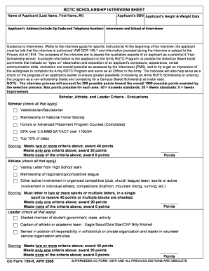 rotc pms interview sheet form