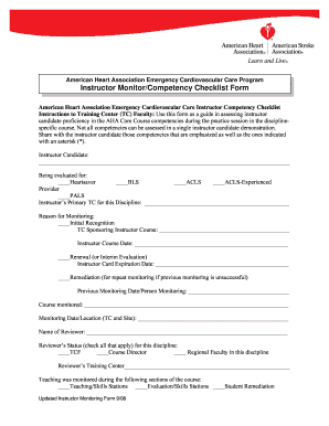 Aha Instructor Monitor Form - Fill Online, Printable, Fillable ...