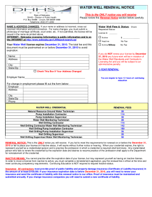 dhhs water well renewal notice form