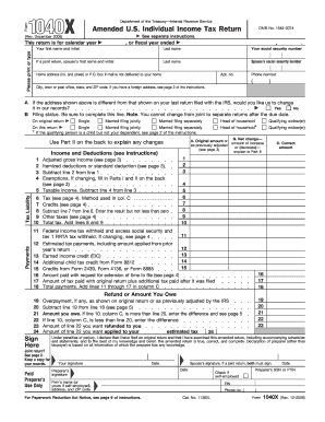 Fillable Online Irs Form 1040x Rev November 2005 Irs