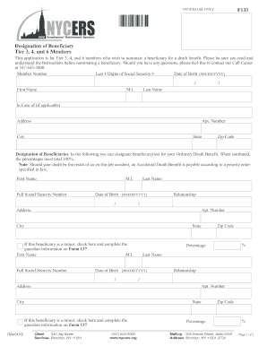 showing 1st image of Nycers Beneficiary Form Nycersorg F133 - Fill Online, Printable, Fillable, Blank ...
