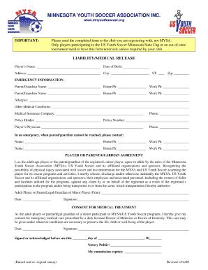 Minnesota Youth Soccer Form