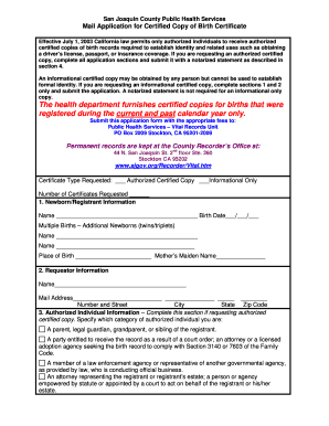Editable birth certificate california to submit online in pdf birth certificate application form july 2003 2 sjcphs yadclub Gallery