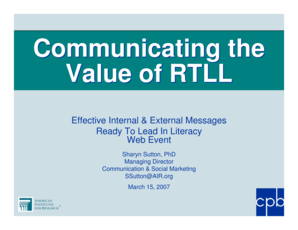 Communicating the Value of RTLL Effective Internal &amp - cpb