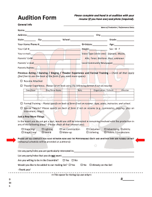 Audition Fotm Pdf Print Fill Online Printable Fillable