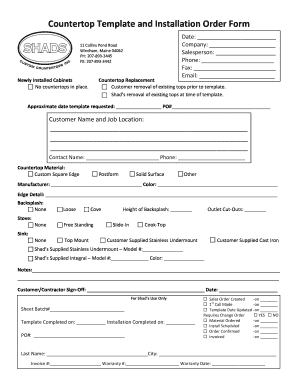 template for granite countertops - installation form fill online printable fillable