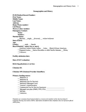 demographic form template