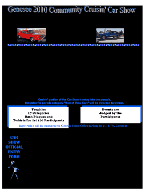 Registratiin Sheet For Car Show Judging Fill Online Printable - Blank car show flyer