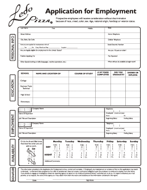 ledo pizza application form