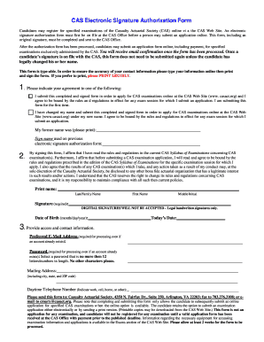Fillable Online casact CAS Electronic Signature Authorization Form ...