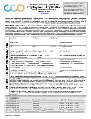 fillable online cco ca employment application california community