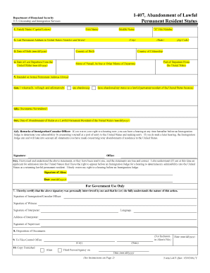 Form I 407 Abandonment Of Lawful Permanent Resident Status - Fill ...