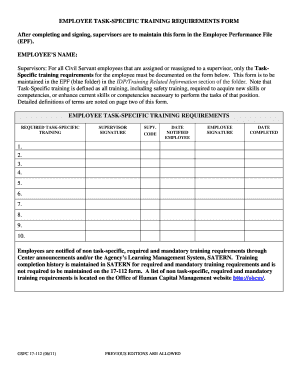 Employee Task Specific Training Requirements Form