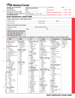 Fillable Online UCSF RADIOLOGY EXAM FORM UCSF RADIOLOGY EXAM