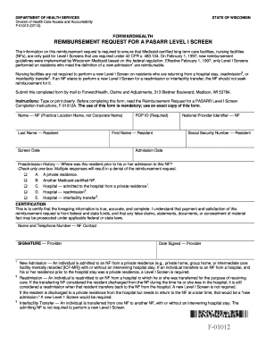 Reimbursement request for a pasarr level i screen - Wisconsin ... - dhs wisconsin